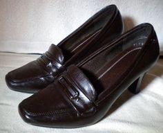 John Romaine Cruze Comfort Heel Shoes Rubber Sole Leather Brown Sz 7M Slip-on…