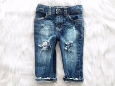 How cute are these distressed baby boy jeans? Toddler Jeans, Toddler Outfits, Baby Boy Outfits, Kids Outfits, Toddler Girl, Toddler Toys, Baby Boy Fashion, Toddler Fashion, Kids Fashion
