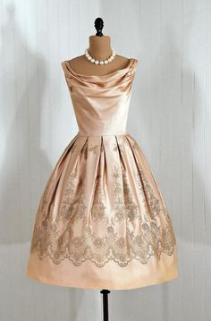 1950s champagne satin cocktail dress. Gorgeous!