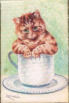 The Kitten's Saucer, United Kingdom, date unknown, by Louis Wain.