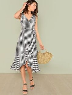 93289b1d76d4 SHEIN offers Tie Waist Asymmetrical Ruffle Hem Wrap Gingham Dress & more to  fit your fashionable needs.
