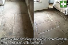 This customer in Great Harwood was so fedup with their Flagstone tiled flooring on the ground floor of their property. In fact they were ready to take up the floor, put a new concrete base in place and lay a wood floor down on top.