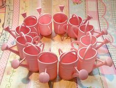 Vintage Pink Watering Can Party Favors or Cake Toppers- 1 dozen