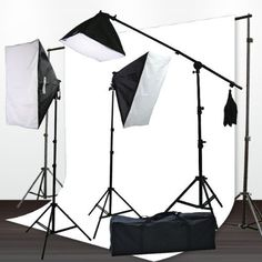 ePhoto H9004SB-1012W Muslin Support Boom Hair light Stand with 3 Softbox Photography Video Lighting Kit - 10x12 (White) by ePhoto. $179.99. This Professional Studio Light Kit is ideal for film, digital photography, and even video productions. Professional Studio umbrella Kit is easy to use and setup is effortless. These lights work great with digital cameras. It is ideal for all level photographers. It comes with a mini light stands for your background lighting.  Pack...