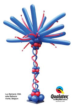 """Decorate 4th of July parties and other #patriotic events with this """"Fireworks Tower"""" made out of balloons! The colors can also be changed to coordinate with any occasion."""