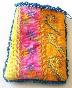 Boho Hand Stitched Gadget Cosy by JulieBullArtist on Etsy
