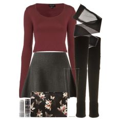 Allison Inspired Outfit with a Gray Skater Skirt by veterization