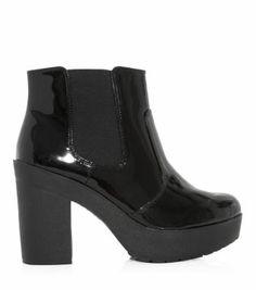 Black Patent Chunky Block Heel Chelsea Boots