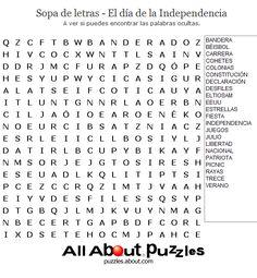 Sopas de Letras: Sopa de letras - El día de la Independencia