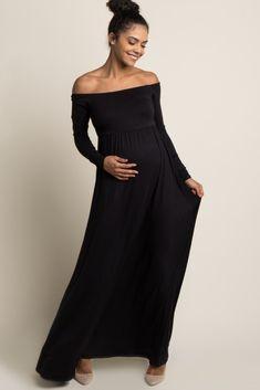 Black Solid Off Shoulder Maxi Dress