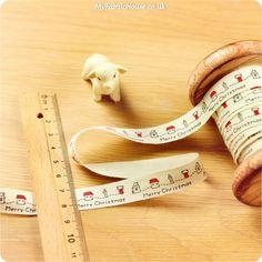 Christmas ♥ 3m Cotton Ribbon - Petite Houses & Merry Christmas (15mm) £4.50