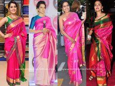 Celebrity In Pink Silk Sarees