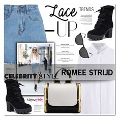 """ROMEE STRIJD street style with newchic"" by nanawidia ❤ liked on Polyvore featuring laceup, polyvoreeditorial and newchic"