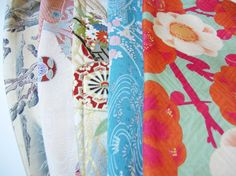 Reserved Set of 10 Vintage Japanese Kimono Fabric Silk by ippoippo