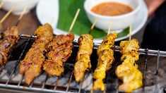"""""""Simon Goh knows a good satay. To make the beautiful spice Simon suggests using a high quality curry powder like Alagappa that is made in Malaysia. It can be found in Asian grocery stores."""" Maeve O Meara, Food Safari Fire Malaysian Cuisine, Malaysian Food, Malaysian Recipes, Homemade Peanut Sauce, Sbs Food, Food Food, Asian Grocery, Chicken Satay, Beef Satay"""