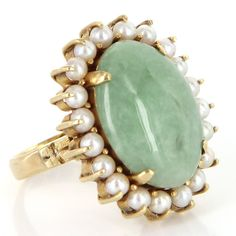 Vintage 14 Karat Yellow Gold Jade Cultured Pearl Large Cocktail Ring Estate Jewelry