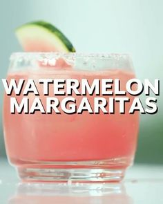 Watermelon Margaritas Recipe Nothing says summer like a freshly cut slice of watermelon. This recipe from our friends at the National Watermelon Promotion Board does the sweet fruit justice in the form of a boozy, colorful cocktail on the Colorful Cocktails, Summer Cocktails, Cocktail Drinks, Watermelon Cocktail, Watermelon Tequila, Frozen Watermelon Margarita, Liquor Drinks, Non Alcoholic Drinks, Beste Cocktails