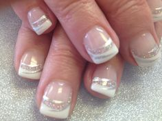 Fancy French nails. LE Disco glitter and stripe right accents