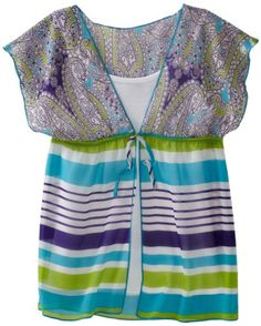 Amy Byer Girls 7-16 Print Chiffon Kimono Sleeve Twofer Blouse, Blue, Small. From #Amy Byer. List Price: $36.00. Price: $15.49
