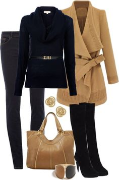 """""""Black and Tan"""" lower boots, but love the camel jacket and everything else"""