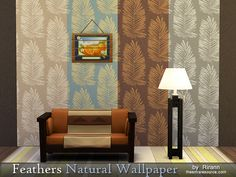 Feathers Natural Wallpaper by Rirann at TSR via Sims 4 Updates