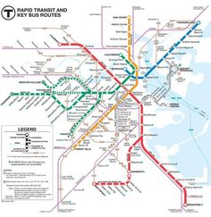 The Boston subway - locally, we call it The T - makes getting around the city easy. Use this map and tips for a great Boston MBTA subway experience. Boston Vacation, Boston Travel, Boston Shopping, Mall Of America, North America, Royal Caribbean, Bus Route Map, Voyage Usa, Moving To Boston