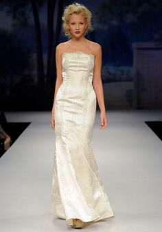 FREDERIQUE    Spring 2012  Ivory strapless satin jacquard mermaid silhoutte with ivory silver crocheted lace trim