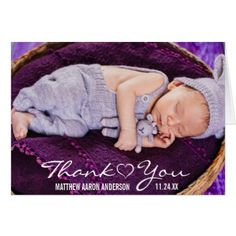 New Baby Modern Photo Thank You Heart Note Card - thank you gifts ideas diy thankyou