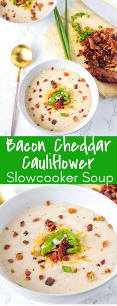 This crockpot Bacon Cheddar Cauliflower Soup is an amazing cauliflower soup, mad. - - This crockpot Bacon Cheddar Cauliflower Soup is an amazing cauliflower soup, mad. Slow Cooker Soup, Slow Cooker Recipes, Crockpot Recipes, Cooking Recipes, Healthy Recipes, Keto Recipes, Cooking Stuff, Healthy Soups, Bacon Recipes