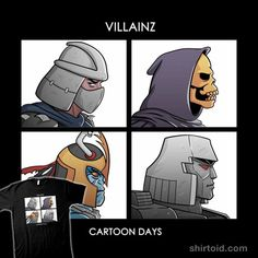 """""""VILLAINZ"""" by Skullpy Cartoon Days Shredder, Skeletor, Mumm-Ra, and Megatron in the style of Gorillaz' Demon Days Gorillaz Demon Days, Day Of The Shirt, Action Comics 1, Cartoon Outfits, Cartoon Crossovers, Thing 1, Thundercats, Tmnt, Big Kids"""