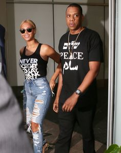 May 11, 2015 - Beyoncé + Jay Z out in New York City.