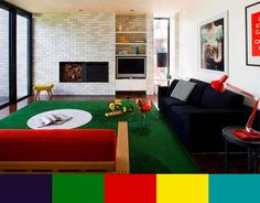 Dark Red Green and Blue colors for apartments