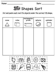 This bundle includes three 3D worksheets for young learners. Students will 1)cut and sort real life 3D objects under their corresponding 3D shapes 2) colour 3D objects according to the colour assigned to each shape, and 3) draw real life 3D objects.  3D shape solid shapes sort cut colour color paste glue kindergarten  For a detailed Powerpoint on 3D Shapes, please see Chikabee's 3D Shape Powerpoint.