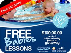 Sorry you missed our Manuka Doctor Free Babies Lessons 2012...Fantastic promotion...FREE BABIES SWIMMING LESSONS  Thanks to Manuka Dr. Northern Arena has $100,000 of Babies Swimming lesson to giveaway.    Limited spaces available.  TO ENROL YOU MUST:    Enrol in person at Northern Arena from May 21 by completing the enrolment form (current swim school babies get priority booking).    Pay a refundable deposit for your membership card.