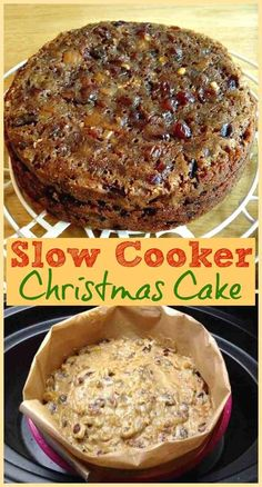 Slow Cooker Christmas Cake - Simple and festive recipe for a slow cooker Christmas cake, a traditional fruit cake enjoyed at Christmas time in Great Britain. Feed it with alcohol in the weeks leading up to Christmas to preserve it! Crock Pot Desserts, Slow Cooker Desserts, Slow Cooker Recipes, Cooking Recipes, Oven Recipes, Slow Cooking, Crockpot Meals, Recipies, Dessert Recipes