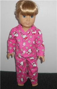 4ecc24999 Hot Pink Hello Kitty 2 Piece Flannel Pajamas fits 18