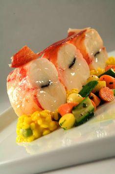 Truffled Lobster Tail, Risotto Milanese, Summer Veg, Pancetta Crisp #tapas #seafood #summer