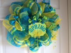 Cheerful Spring Deco Mesh Wreath by TheFeistyCarrot on Etsy, $70.00