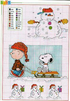 Charlie Brown pupazzi di neve slitta schemi punto croce