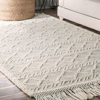 Shop nuLOOM Ivory Wool Handmade Flatweave Contemporary Tribal Stripe Tassel Area Rug - On Sale - Overstock - 17332794 - x Runner Area Rugs For Sale, Online Home Decor Stores, Room Rugs, Woven Rug, Wool Area Rugs, Rugs Online, Rugs In Living Room, Colorful Rugs, Rugs On Carpet