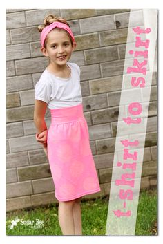 T-shirt to skirt refashion tutorial by Sugar Bee Crafts