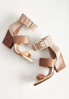 Neutral Beauty Heel. Its only natural that a minimalist stylista like you would own a pair of stacked heels that go with about everything!  #modcloth
