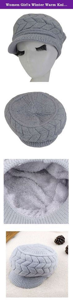 Women Girl's Winter Warm Knit Thicken Hat Wool Snow Ski Caps with Visor. This soft chenille fleece-lined winter knit cap hat is perfectly designed for the chilly cold weather winter season. Extra Deep for a jaunty slouchy look or to make a little extra room for your hair, whether loose, in a bun or a pony tail, and may be deep enough to cover your ears, so you can replace your earmuffs, or choose to wear them together for extra warmth. The visor brim protects your face from falling snow…