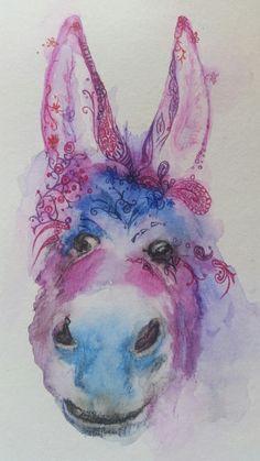 Ink african animals - Dreamy Donkey by #joannacookeart.com