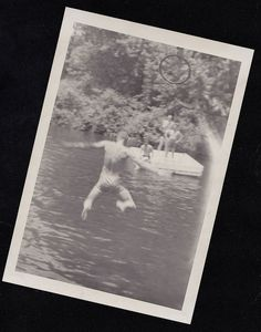 Old Vintage Antique Photograph Men in Bathing Suit From Behind Jumping in Water