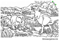 Triceratops Attacking T Rex Coloring Page With Images Dinosaur