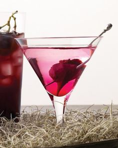 "Keep up the fear factor with a martini holding a pickled beet that ""bleeds"" from a wound caused by a cocktail spear."