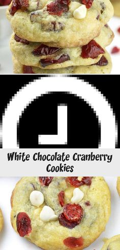 White Chocolate Cranberry Cookies - imagine a bunch of sweet and tangy dried red cranberries and white chocolate chunks held together with rich and buttery cookie dough. White Chocolate Cranberry Cookies, Buttery Cookies, Best Cookie Recipes, Cranberries, Cookie Dough, Christmas Cookies, Cravings, Breakfast, Sweet