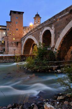 Ponte Fabricio - The oldest Roman bridge in Rome, Italy
