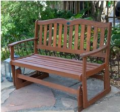 Outdoor Wooden Bench Glider Rocking Gliding Porch Love Seat Garden Patio Chair #OutdoorWoodenBench